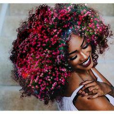 Natural hair Flowers look great afro kinky curly hair Black Girl Art, Black Women Art, Black Art, Art Girl, Art Women, Red Black, Natural Hair Art, Natural Beauty, Natural Hair Styles For Black Women