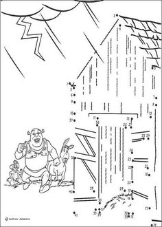 Dot to dot Shrek coloring page motor skills Pinterest