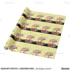 SEASON'S FRUITS / JASMINES AND PRUNES Yellow Wrapping Paper