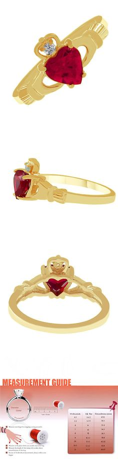 Other Wedding Jewelry 164311: Heart Shaped Pink Sapphire 14K Yellow Gold Finish Claddagh Ring -> BUY IT NOW ONLY: $31.97 on eBay!