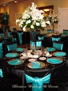 Wedding reception decor - black and teal i like this idea maybe with silver where the teal is, teal in center pieces: