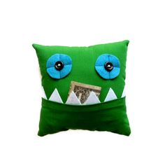 Green Tooth Fairy Pillow by meggiebabe on Etsy, $10.00  For any Moms or Dads out there with Tooth Fairy believing kids, Surely you'll want this Great Pillow for safe keeping of teeth and money. So Cute!! Perfect for boys