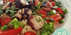 Σαλάτα με Χταπόδι και Πλιγούρι Caprese Salad, Cobb Salad, Pescatarian Recipes, Lent, Starters, Chicken, Food, Greek, Easter