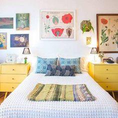 No Headboard Ideas yellow nightstands