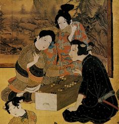 Hikone Screen detail showing man and woman playing ban-sugoroku