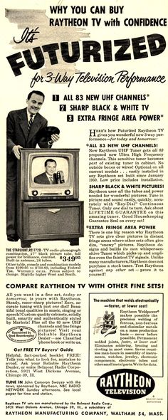 Televisions have been seen in your area. Citizens have been instructed to shoot on sight............... Vintage Raytheon Manufacturing Company Ad - 1951