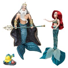 Disney Designer Collection Dolls Ariel and King Triton Disney Barbie Dolls, Ariel Doll, Disney Animator Doll, Disney Designer Collection, Shopkins And Shoppies, Mermaid Disney, Lego, Barbie Princess, Comic