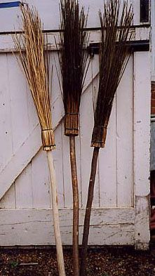 Brooms--get stick and then twigs and tie together to make these.  Seen at Hobby lobby. Tie with twine