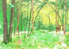 光あふれる春の森のイラストアイデア
