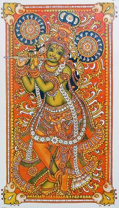 Murlidhara Krishna (Reprint on Paper - Unframed) Mysore Painting, Kerala Mural Painting, Tanjore Painting, Krishna Painting, Indian Paintings, Art Paintings, Watercolor Paintings, Painting Art, Arte Krishna