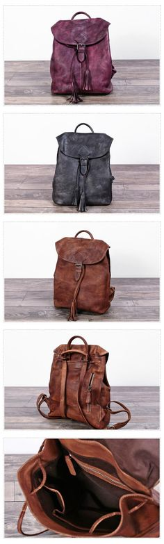 f1e5a45059a Women Leather Backpack Travel Backpack School Backpack Leather Satchels WF71