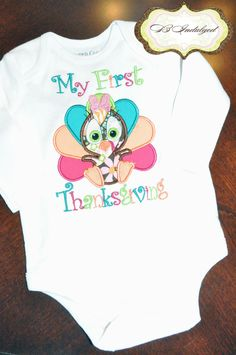 Girls My First Thanksgiving Embroidery Turkey Onsie or Shirt