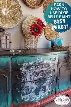 This piece has Rusty Nail Mermaid Tail Antebellum Blue Midnight Sky Coffee Bean Big Mama's Butta Voodoo Gel Stain in Black Magic and Gator Hide. Learn how to use Dixie Belle Paint today! Decor Style Home Decor Style Decor Tips Maintenance Turquoise Painted Furniture, Colorful Furniture, Vintage Furniture, Midnight Sky, Dixie Belle Paint, Diy Home Decor On A Budget, Mineral Paint, Black Magic, Diy Christmas Gifts