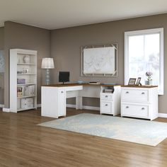 Bush Furniture Fairview L Shaped Desk With Hutch And Lateral File Cabinet In White