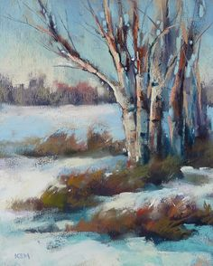 Winter Snow Landscape Birch Trees  pastel by Karen Margulis
