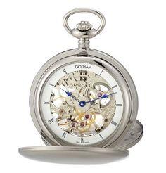 Gotham Men's Silver-Tone Double Cover Exhibition Mechanical Pocket Watch # GWC18801S Gotham. $199.95