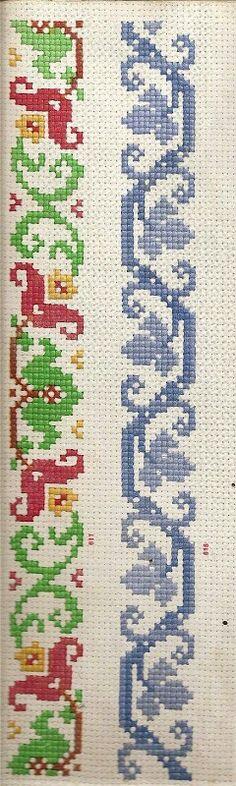 Toalha de mesa Cross Stitch Borders, Cross Stitch Designs, Cross Stitch Patterns, Burlap, Diy And Crafts, Quilts, Embroidery, Crochet, Cross Stitch Rose