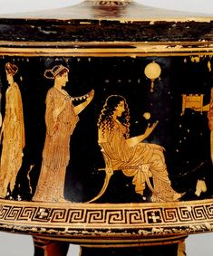 "Red-figured pyxis, picturing Nereids at home, ""indoors"": the Nereid with her hair down is labeled as Thaleia.Image via The British Museum. Ancient Greek Clothing, Ancient Greek Art, Ancient Rome, Ancient Greece, Greek History, Ancient History, Art History, Greek Paintings, Minoan"