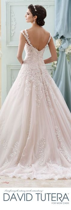 The David Tutera Mon Cheri Fall 2015 Wedding Gown Collection - Style No. 215277 Arwen #laceweddingdresses