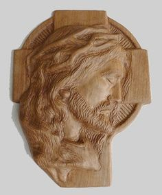 Jesus Christ Face On Cross Religious Wood Carving Handmade Wall Hanging Decor Plaque Relief Waxed