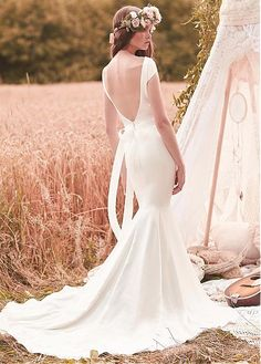 Simple Acetate Satin Bateau Neckline Mermaid Wedding Dresses With Beadings & Rhinestones