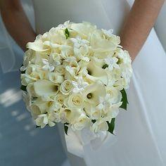 stephanotis. roses. calla lilies.