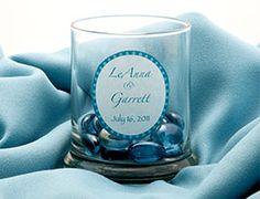 Rocks glass candleholder made into a wedding favor