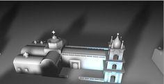La catedral de latacunga modelado en Cinema 3d.