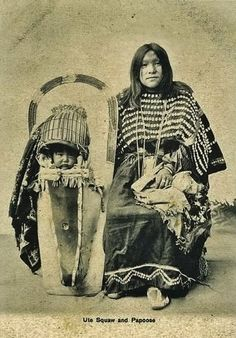 Studio portrait of a Native American Ute woman and a baby in a cradleboard. Native American Images, Native American Beauty, American Indian Art, Native American History, Native American Indians, American Symbols, Sioux, Cherokee, By Any Means Necessary