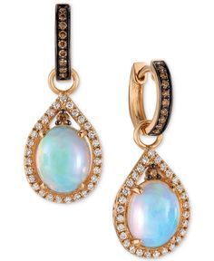 Le Vian Chocolatier® Neopolitan Opal™ (2-3/8 ct. t.w.) and Diamond (5/8 ct. t.w.) Drop Earrings in 14K Rose Gold - Le Vian - Jewelry & Watches - Macy's