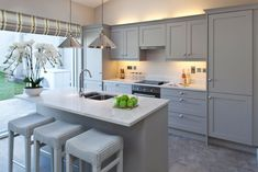 Image result for kitchen with gray cabinets