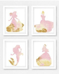 Disney princess nursery Girls room Princess Ariel, Little mermaid, Cinderella, Beauty and the beast, pink and gold, Princess nursery, Disney baby shower, picture by EllowDee