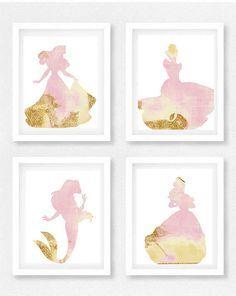Disney princess nursery Girls room Princess Ariel, Little mermaid, Cinderella, Beauty and the beast, pink and gold, Princess nursery, Disney baby shower, picture by EllowDee