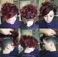 Image Result For Asymmetrical Undercut Women 360 View Really Short Hair Bob Hairstyles Undercut Curly Hair
