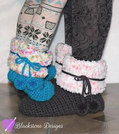 """Funfetti Sloots crochet pattern by Blackstone Designs Available in Child, Adult, and 18"""" doll sizes"""