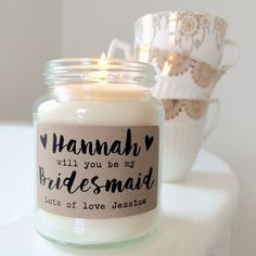 Personalised 'Bridesmaid/Maid Of Honour' Soy Candle