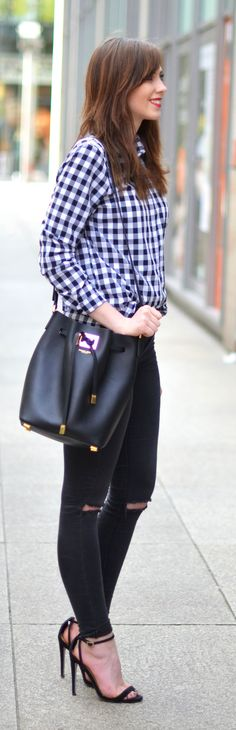 Gingham Button Down Outfit Idea by Vogue Haus