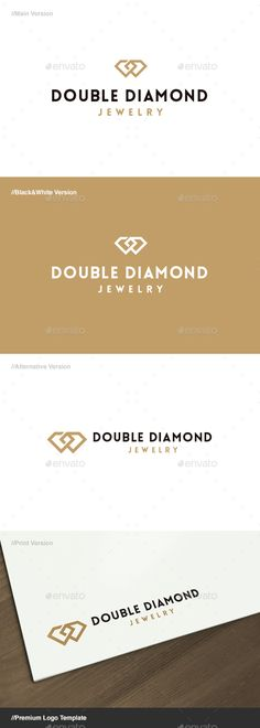 Double Diamond Jewelry - Logo Design Template Vector #logotype Download it here: http://graphicriver.net/item/double-diamond-jewelry-logo/14858979?s_rank=1533?ref=nexion