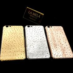LA MELA COVER LUXURY SKIN IPHONE  18 KT GOLD PLATED  HANDMADE IN ITALY    LUXURY STORES