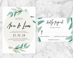 Eucalyptus wedding printable invitation by BlackCatPrintCo on etsy