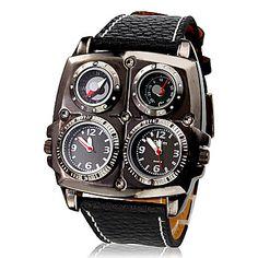 mannen multi-beweging zwarte pu band quartz analoog horloge (2 tijdzones) – EUR € 14.89