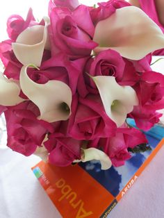 White calla & dark pink rose wedding bouquet