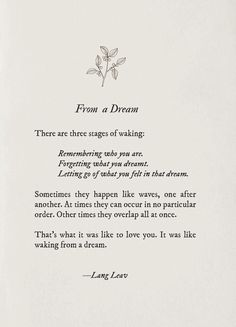 waking up from a dream - Lang leav you Poem Quotes, Words Quotes, Life Quotes, Hurt Quotes, Relationship Quotes, Sayings, Pretty Words, Beautiful Words, Cool Words