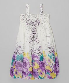 Look what I found on #zulily! Wenchoice White & Purple Floral Babydoll Dress - Infant, Toddler & Girls by Wenchoice #zulilyfinds