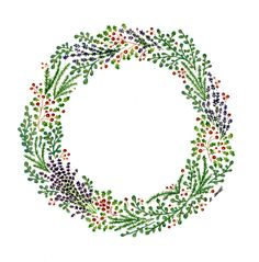 Hand Painted,Watercolour Christmas Wreath - Katy Bennett for Bee Illustrated