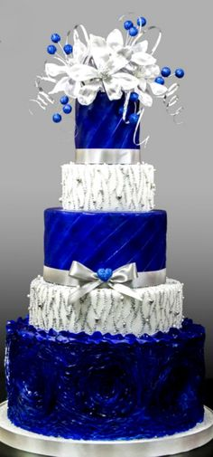 Blue and Siver Wedding Cake