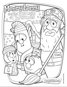 Free Coloring Sheet Printable - A Merry Larry and the True Light of Christmas VeggieTales