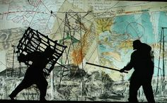Kentridge, Notes Towards a Model Opera, Cage and Stick on Map, 2015