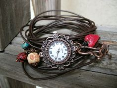 bracelet WaTcH leather wrap nine brown leather strands by 316clay, $25.00