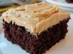 Homemade Chocolate Cake w/ Peanut Butter Frosting Recipe